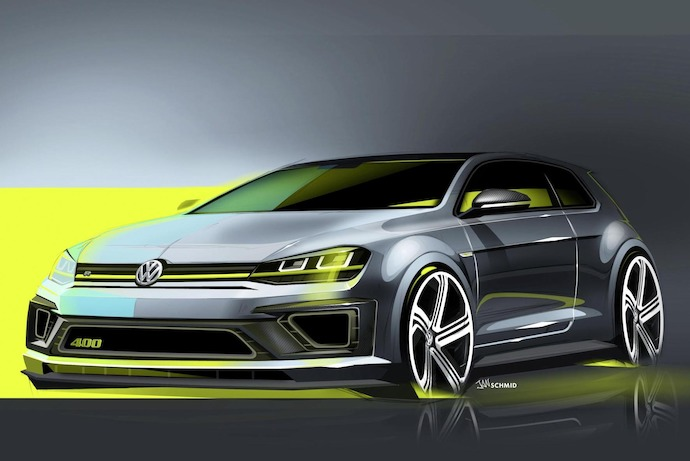 First Sketches of Volkswagen's 400Ps Four Wheel-Drive Golf R 400 Concept Revealed
