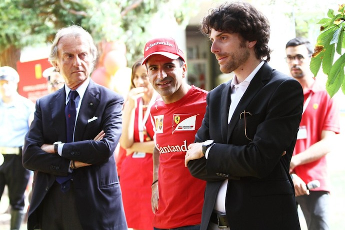 Italy: President Montezemolo and Scuderia Ferrari test driver Marc Gene Visits the Ferrari Summer Centre
