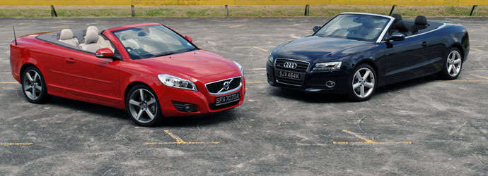 Twin test: Audi A5 Cabriolet 2.0 TFSI quattro (A) vs. Volvo C70 T5 (A) Review