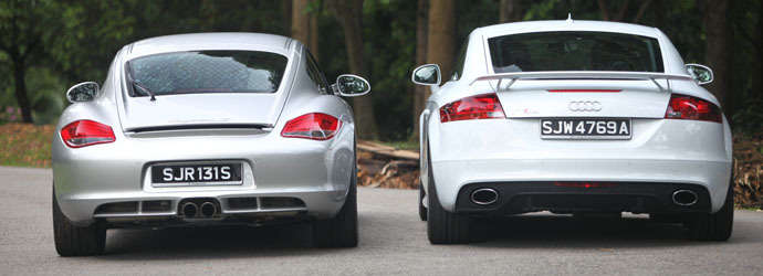 Twin test: Audi TT RS coupe (M) vs. Porsche Cayman S PDK (A) Review