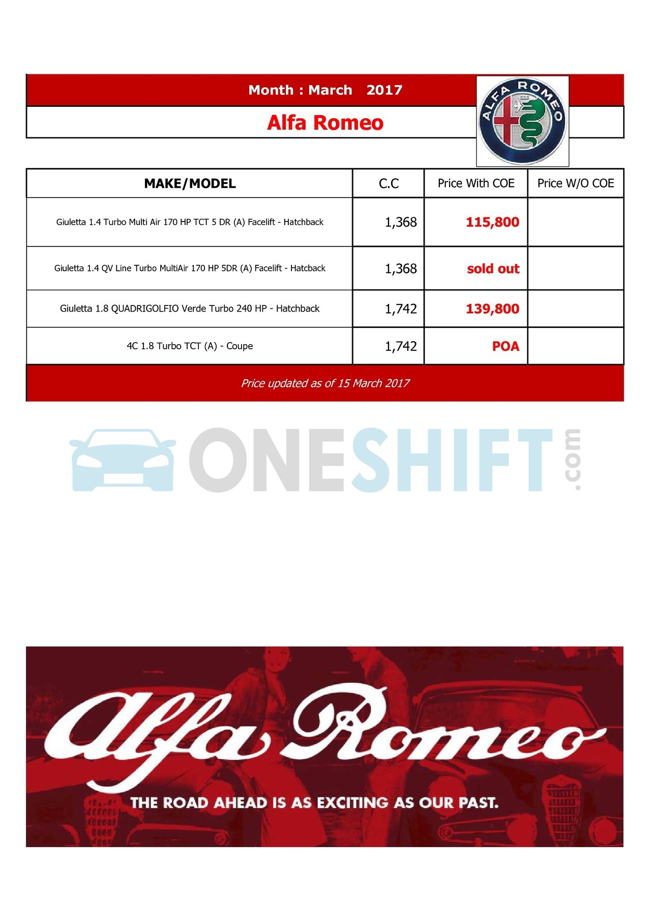 alfa-romeo Price List 3-16-2017 Page 1