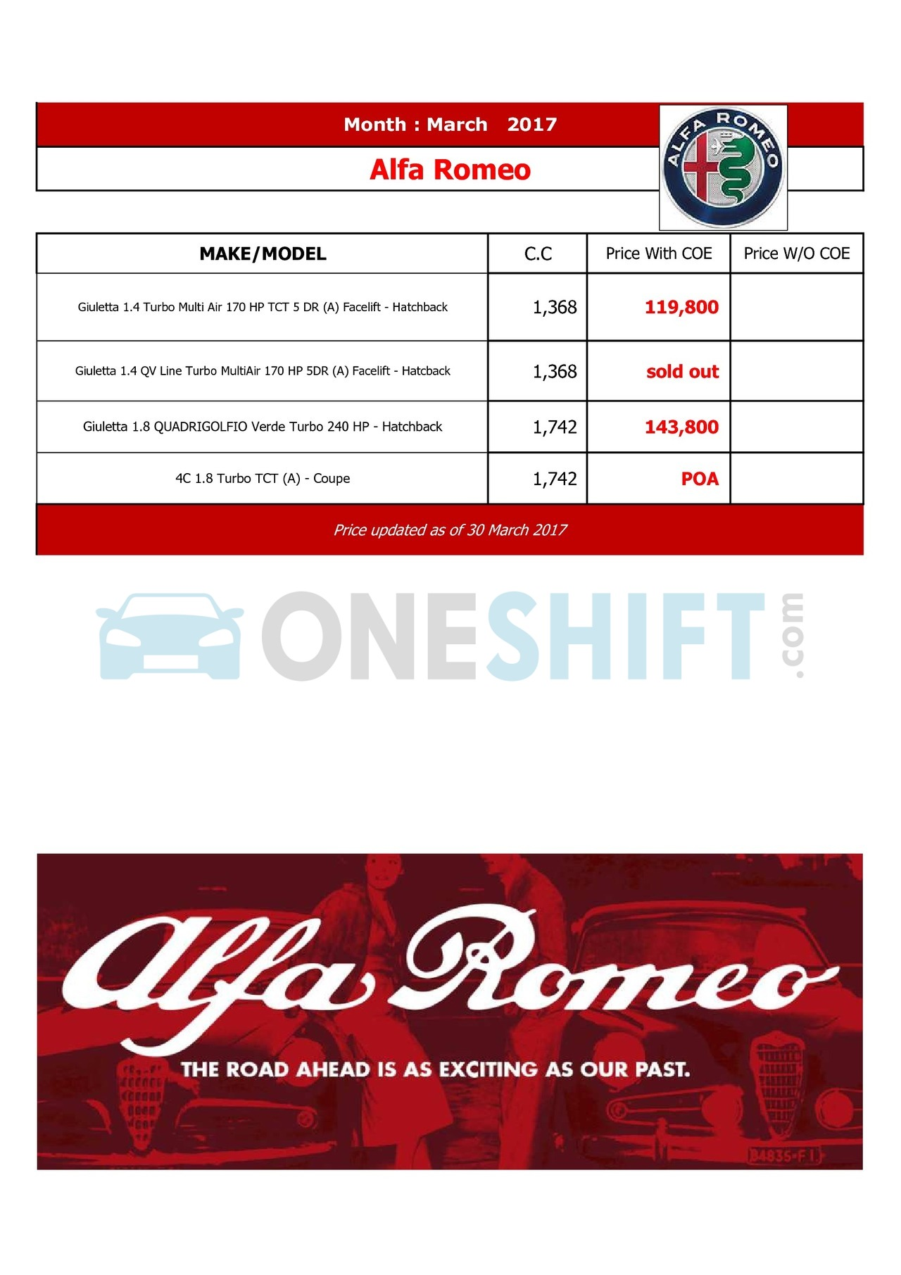 alfa-romeo Price List 3-31-2017 Page 1