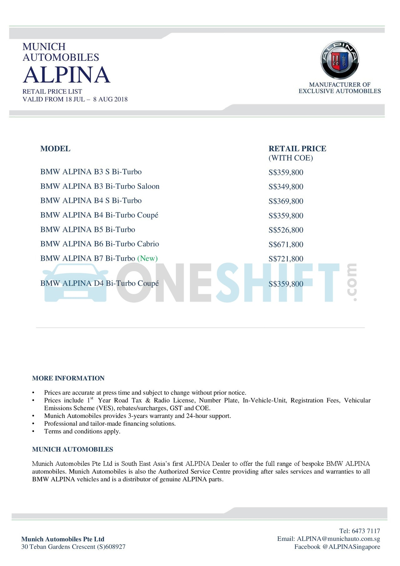 BMW Alpina Singapore Printed Car Price List Oneshiftcom - Bmw alpina price range