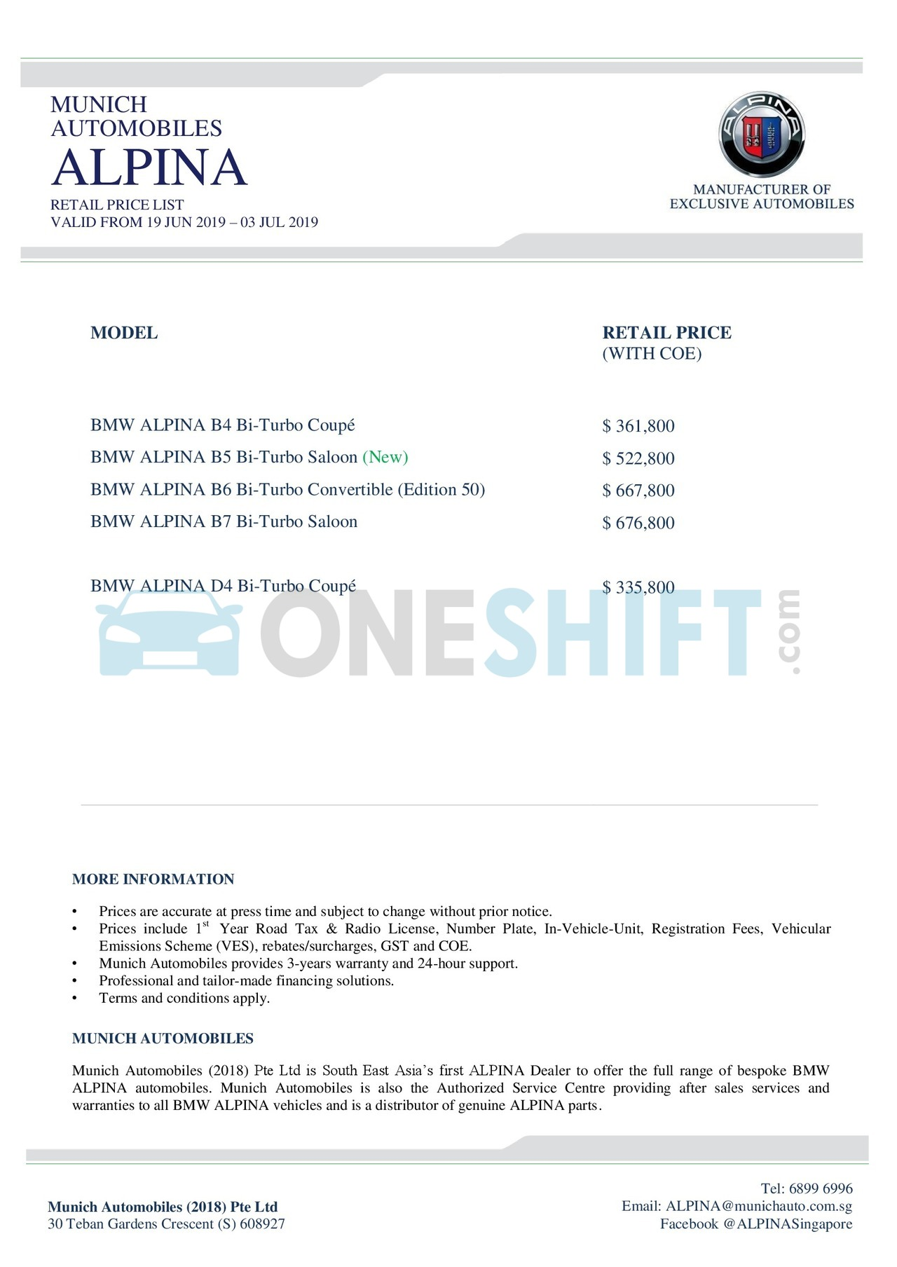 bmw-alpina Price List 6-20-2019 Page 1