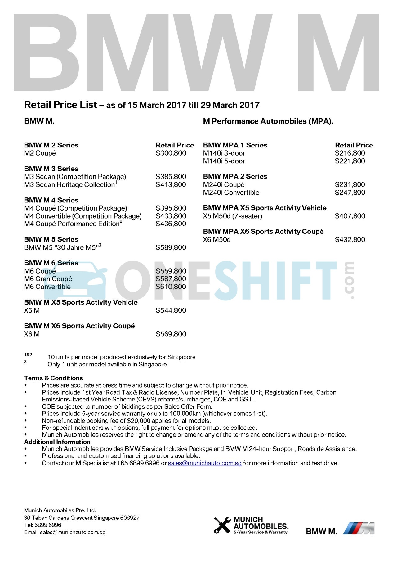 bmw-m-series Price List 3-16-2017 Page 1