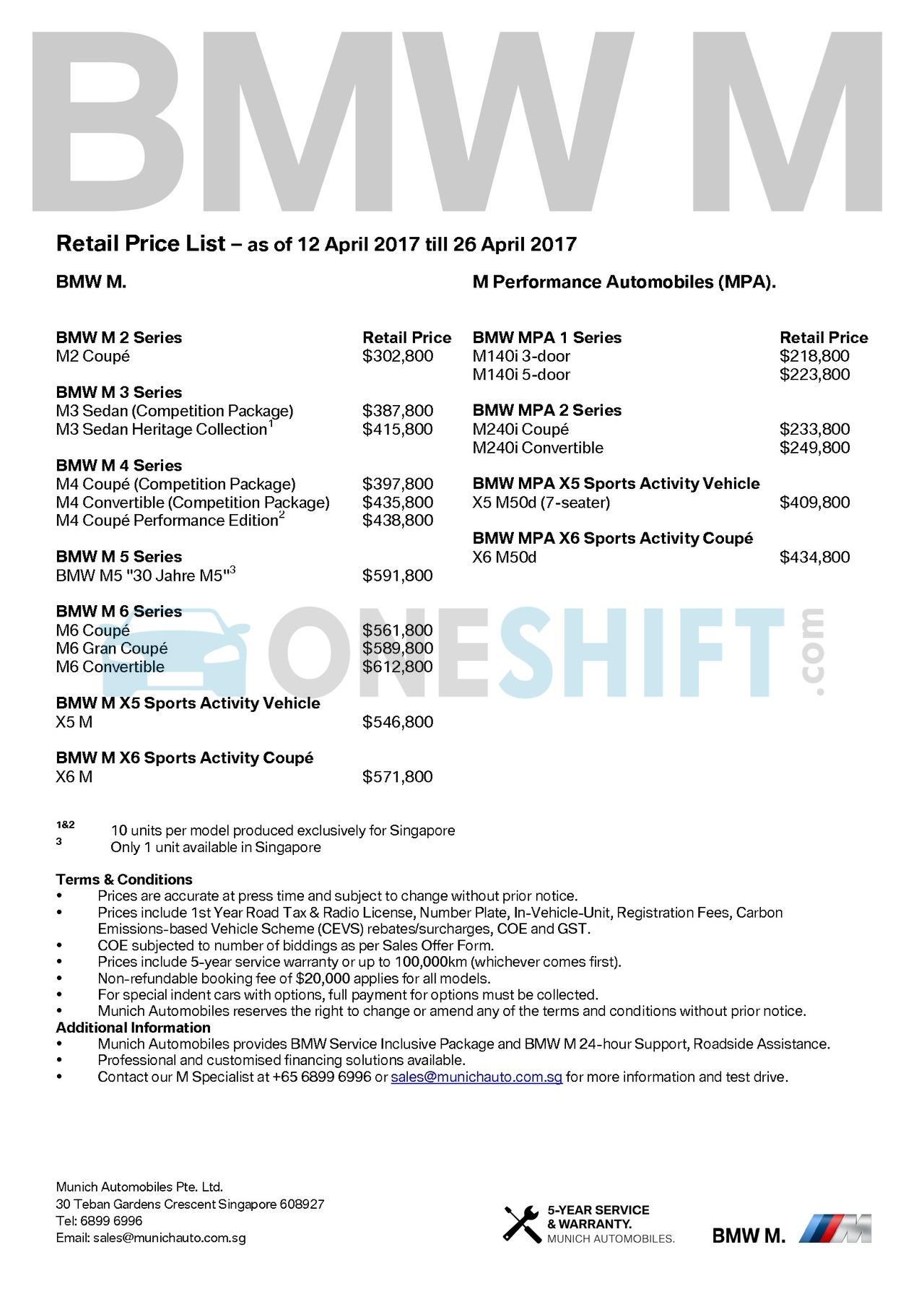 bmw-m-series Price List 4-12-2017 Page 1