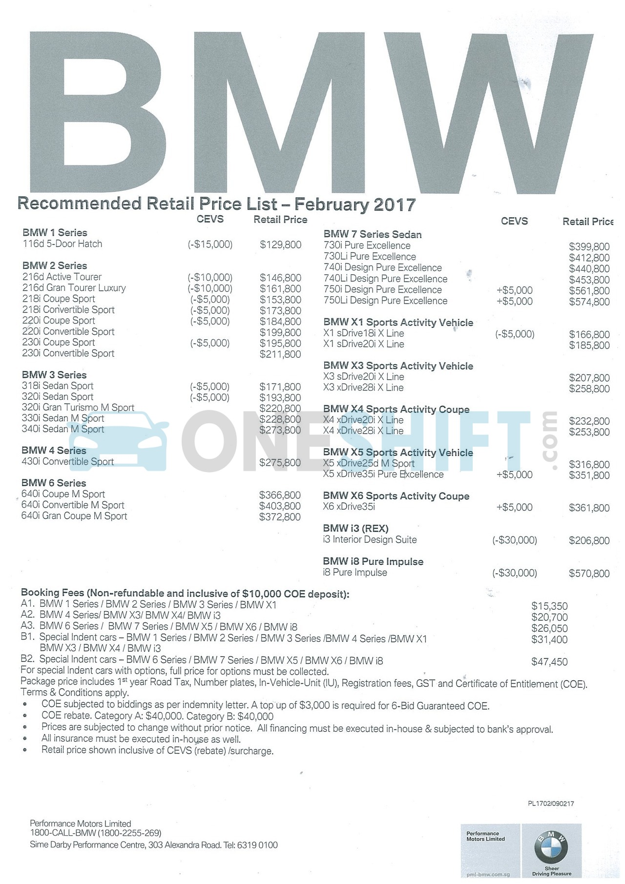 bmw Price List 2-9-2017 Page 1