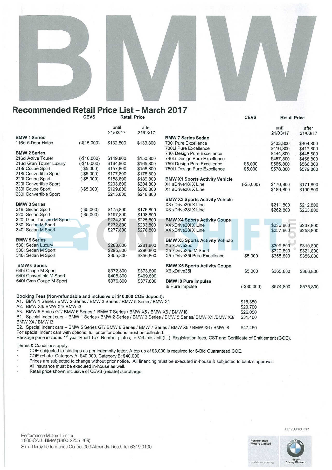 bmw Price List 3-16-2017 Page 1