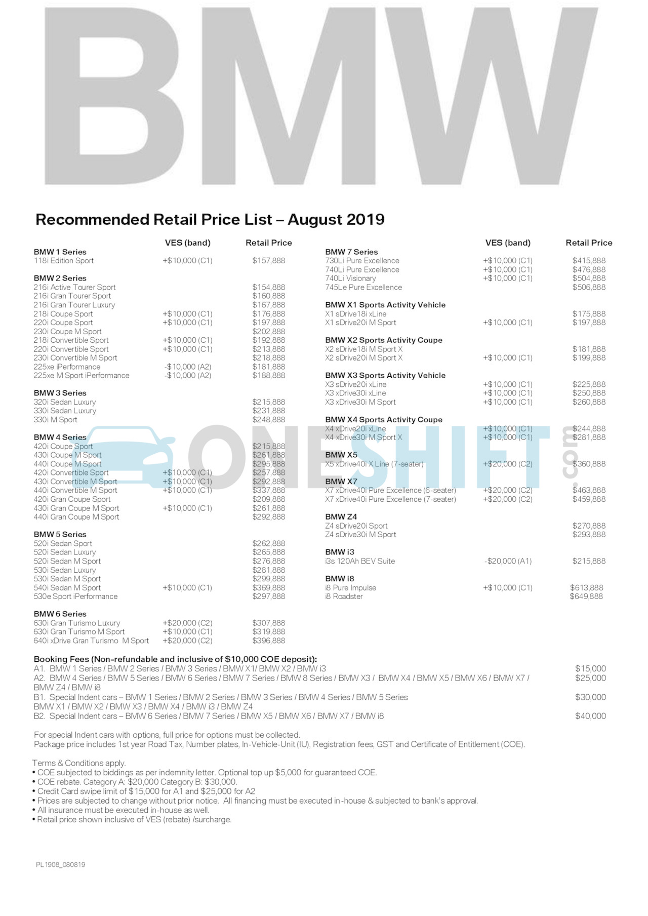 bmw Price List 8-8-2019 Page 1