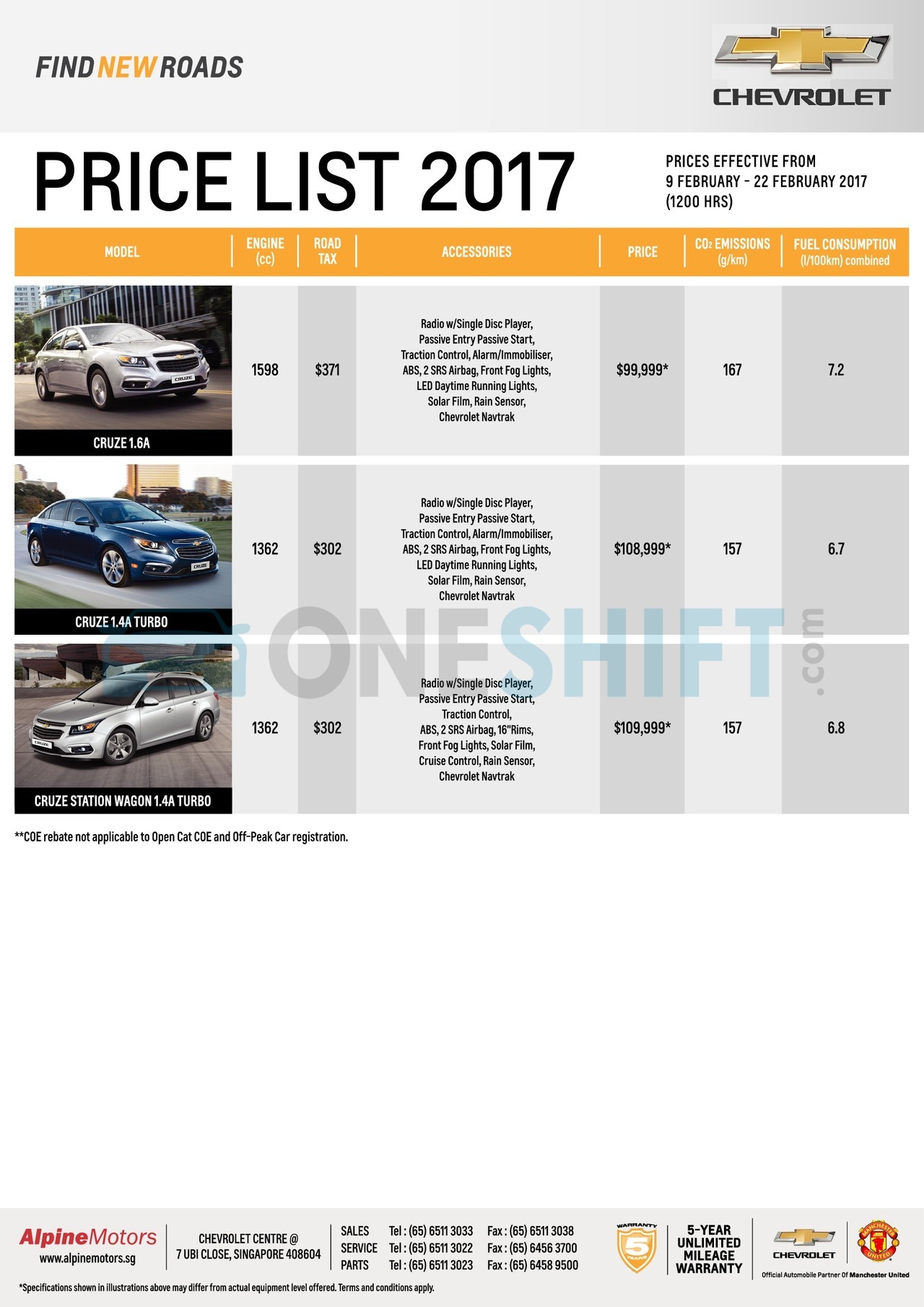 chevrolet Price List 2-9-2017 Page 1