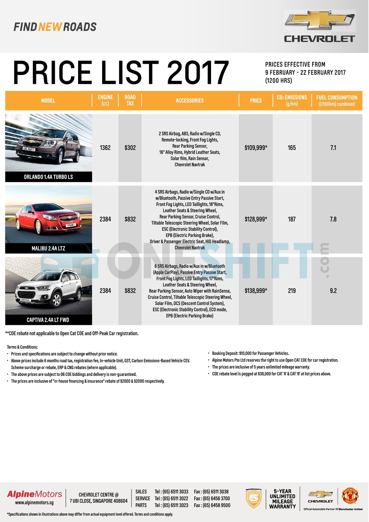 chevrolet Price List 2-9-2017 Page 2