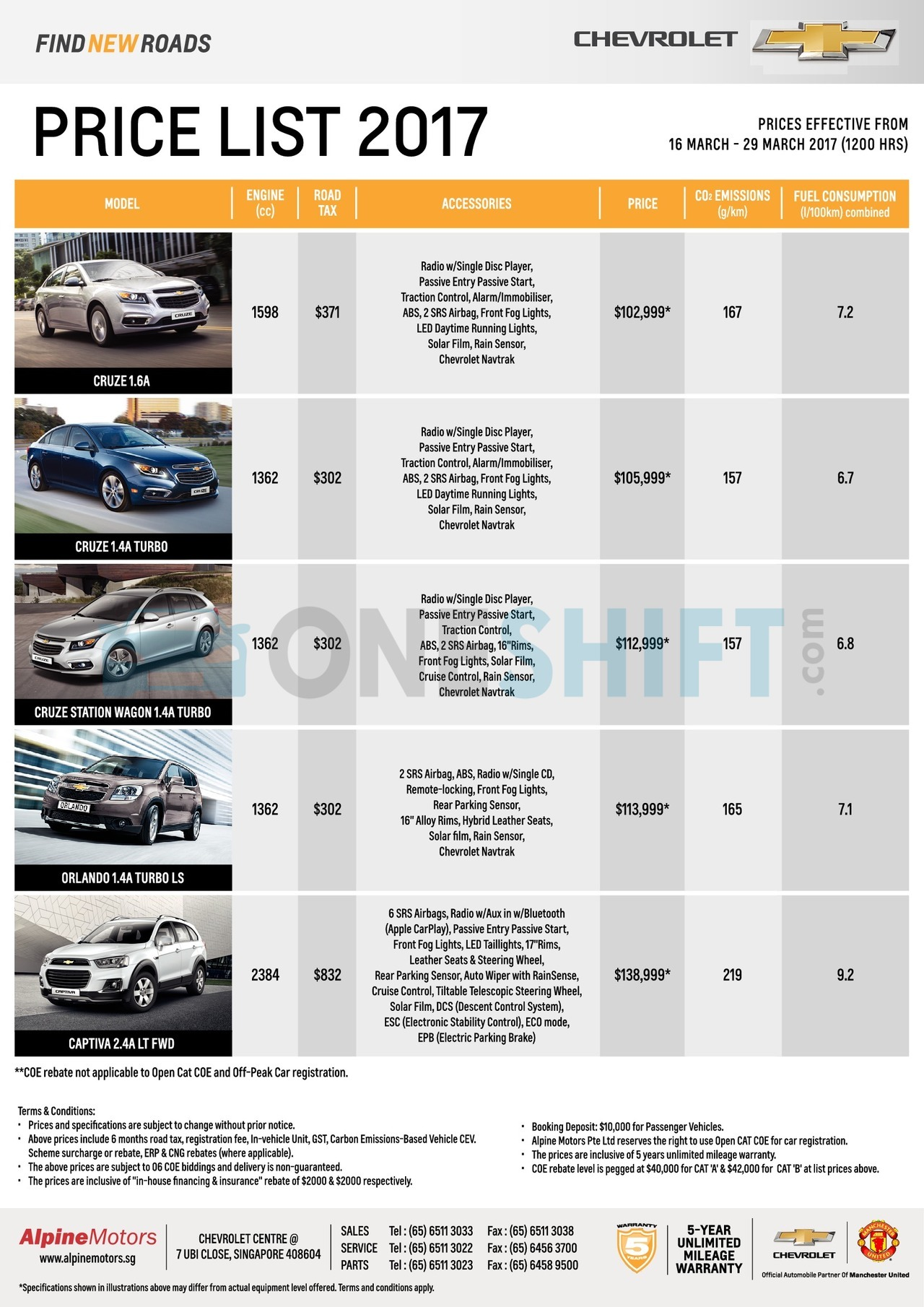 chevrolet Price List 3-16-2017 Page 1