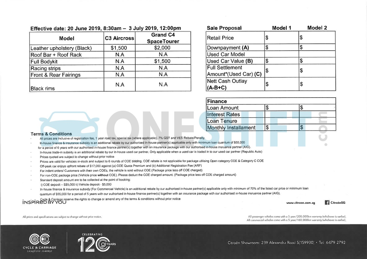 citroen Price List 6-20-2019 Page 2