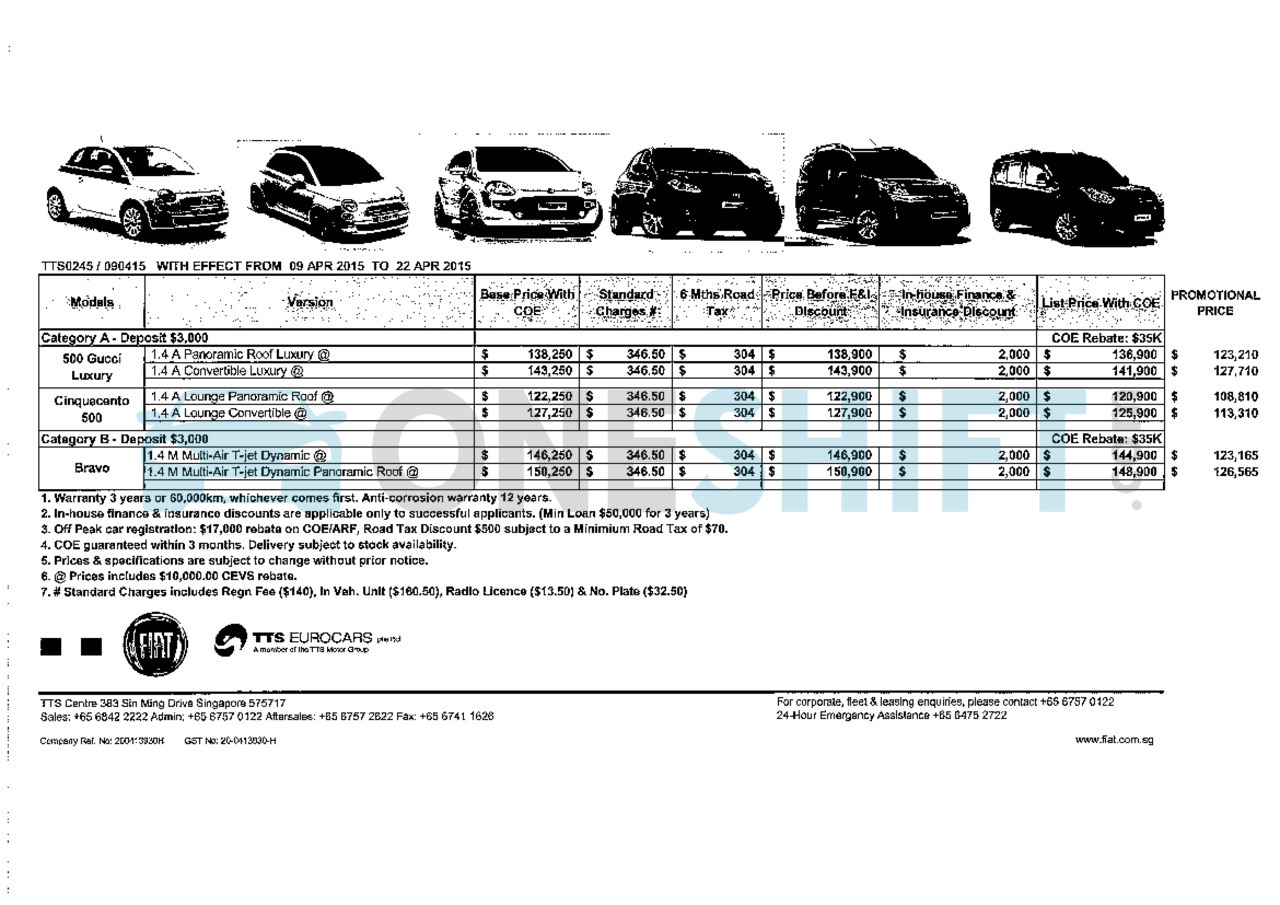 fiat singapore printed car price list