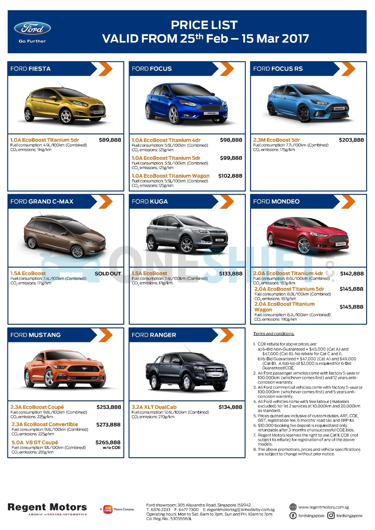 ford singapore printed car price list. Black Bedroom Furniture Sets. Home Design Ideas