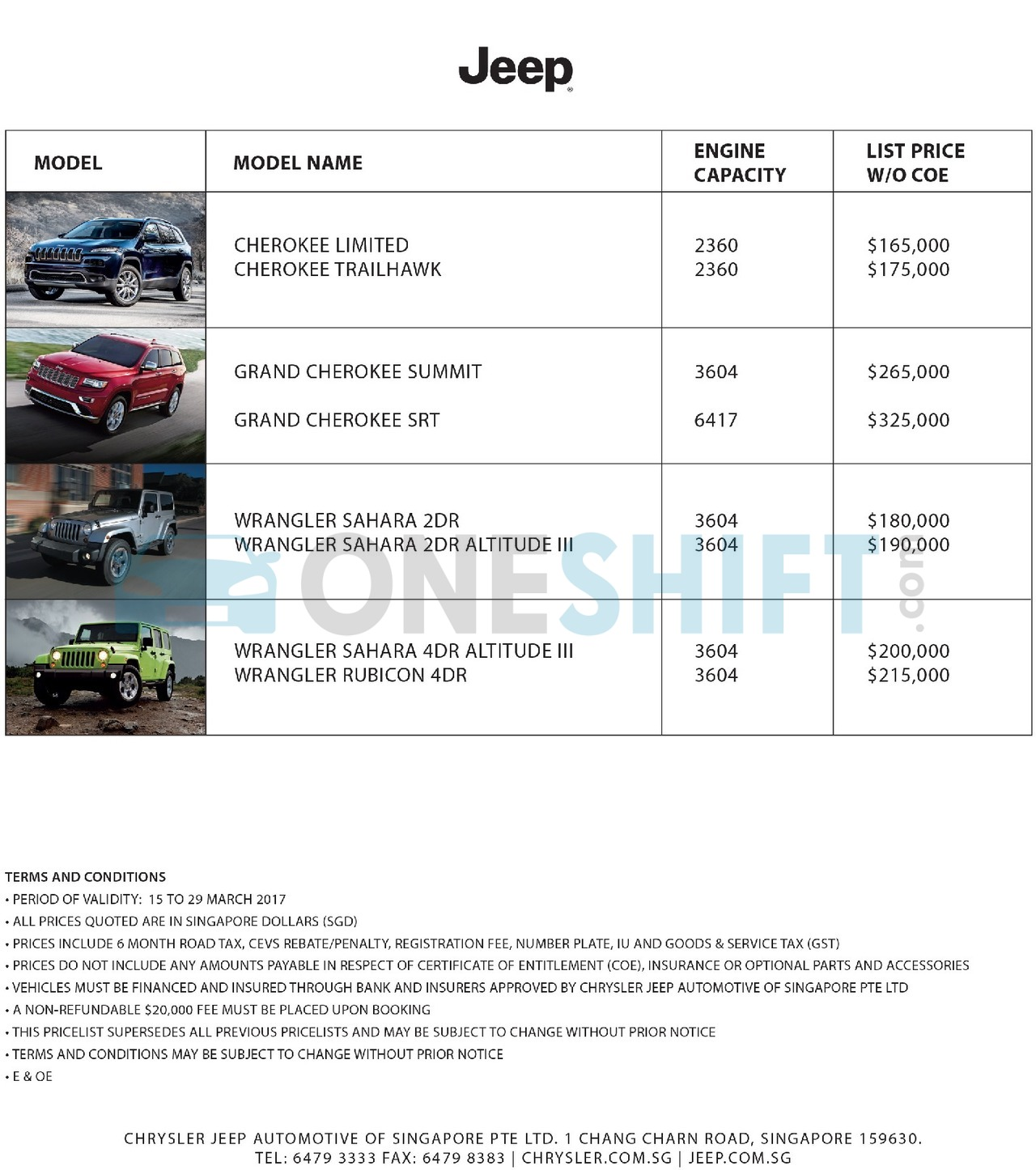 jeep Price List 3-16-2017 Page 1