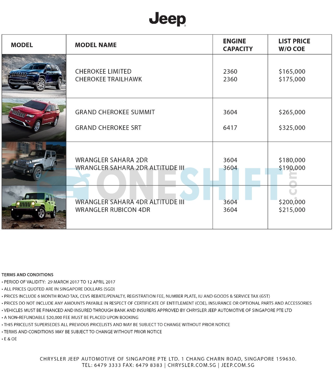jeep Price List 3-29-2017 Page 1