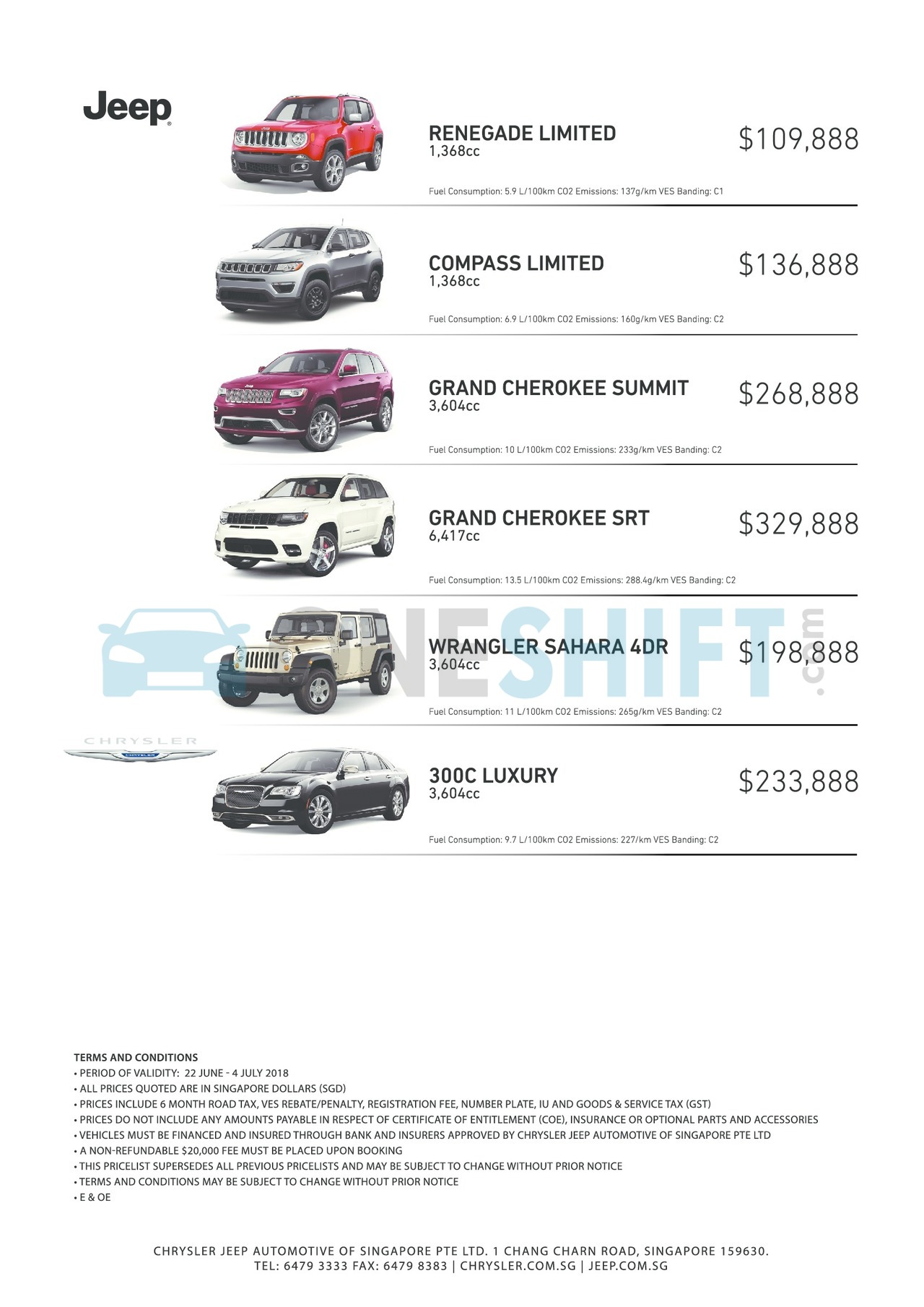 Jeep Singapore Printed Car Price List Oneshift Com