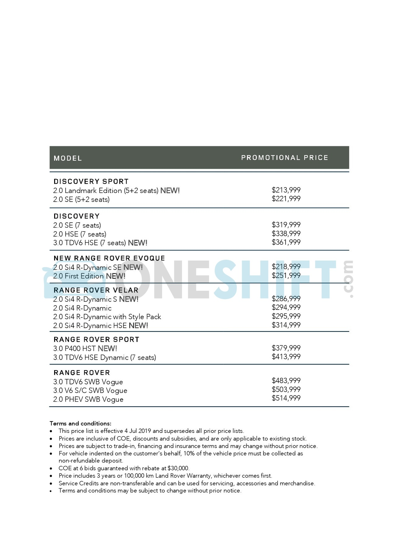land-rover Price List 7-4-2019 Page 1