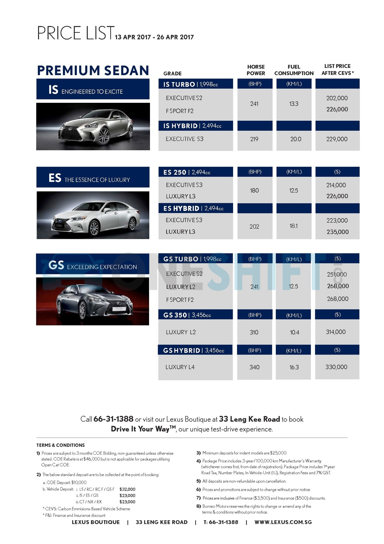 lexus Price List 4-13-2017 Page 1