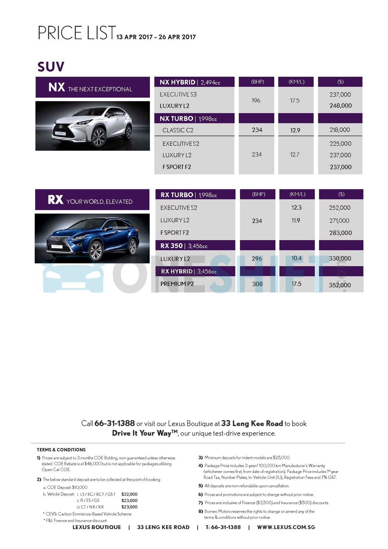 lexus Price List 4-13-2017 Page 2
