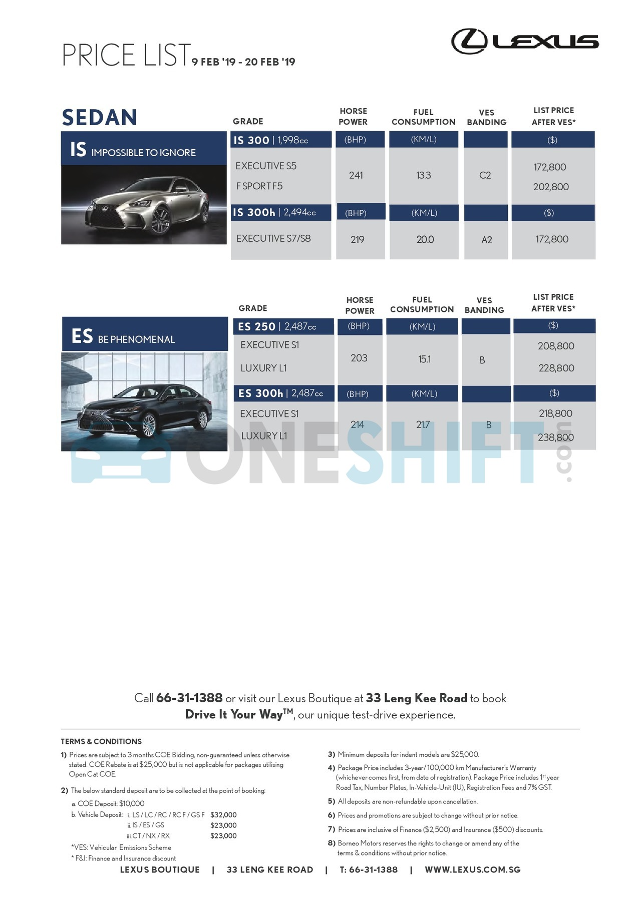 lexus Price List 2-11-2019 Page 1