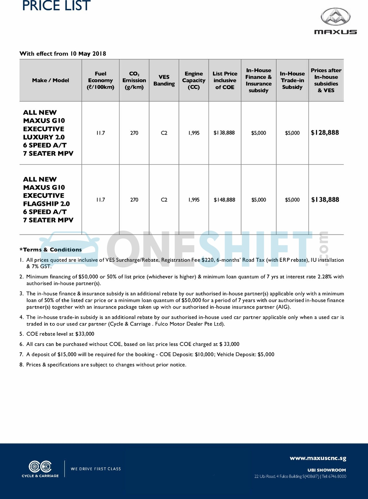 Maxus Singapore Printed Car Price List Oneshift Com