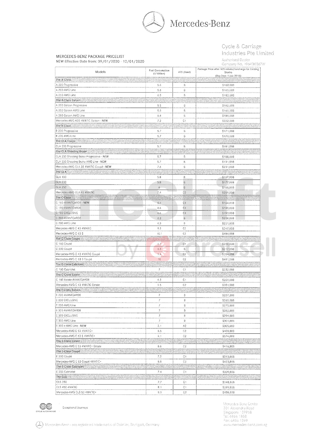 mercedes-benz Price List 1-10-2020 Page 1