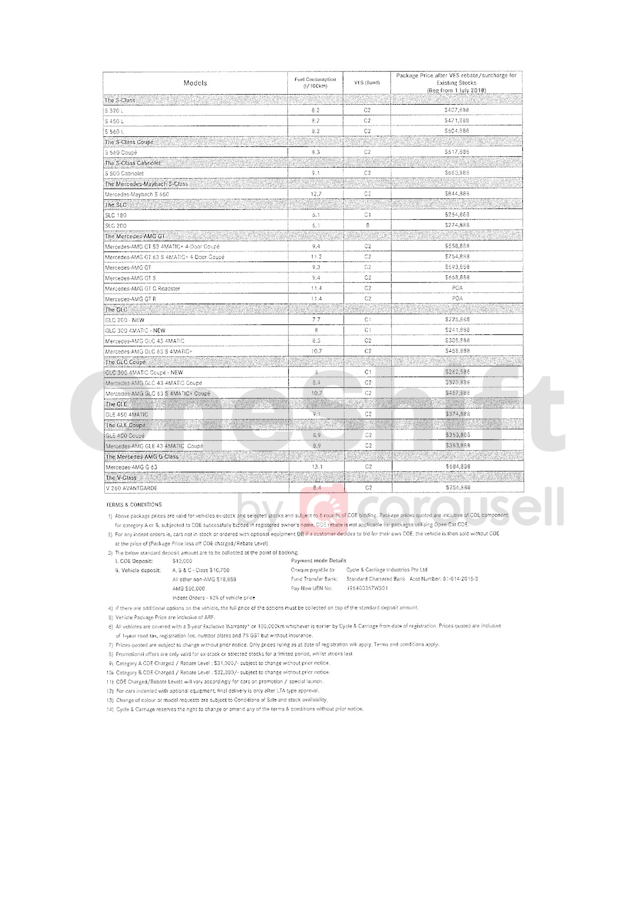 mercedes-benz Price List 1-10-2020 Page 2