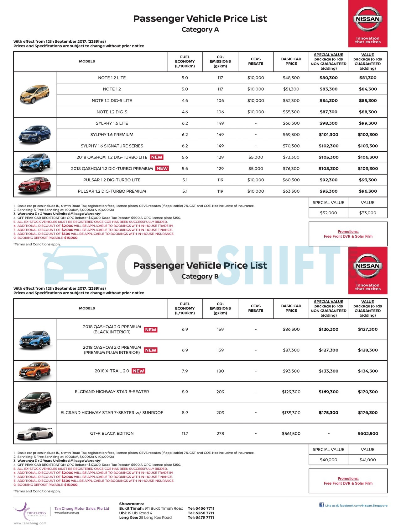 nissan Price List 9-12-2017 Page 1