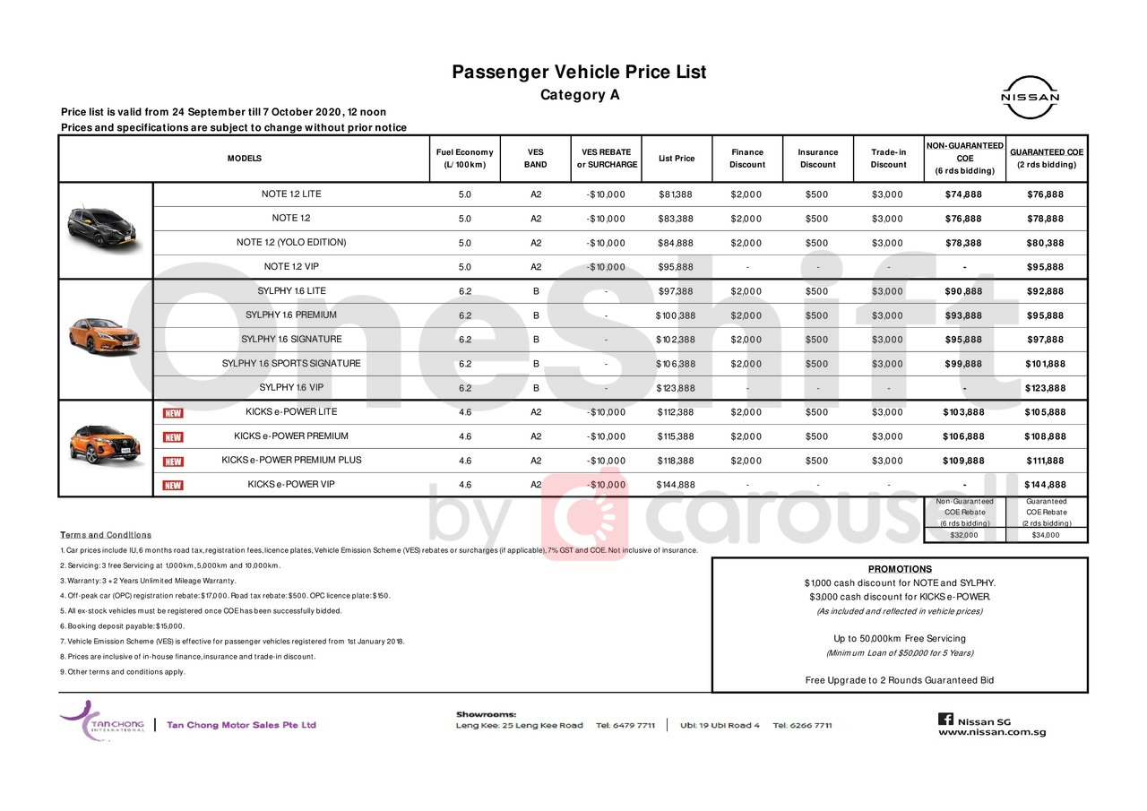 nissan Price List 9-25-2020 Page 1