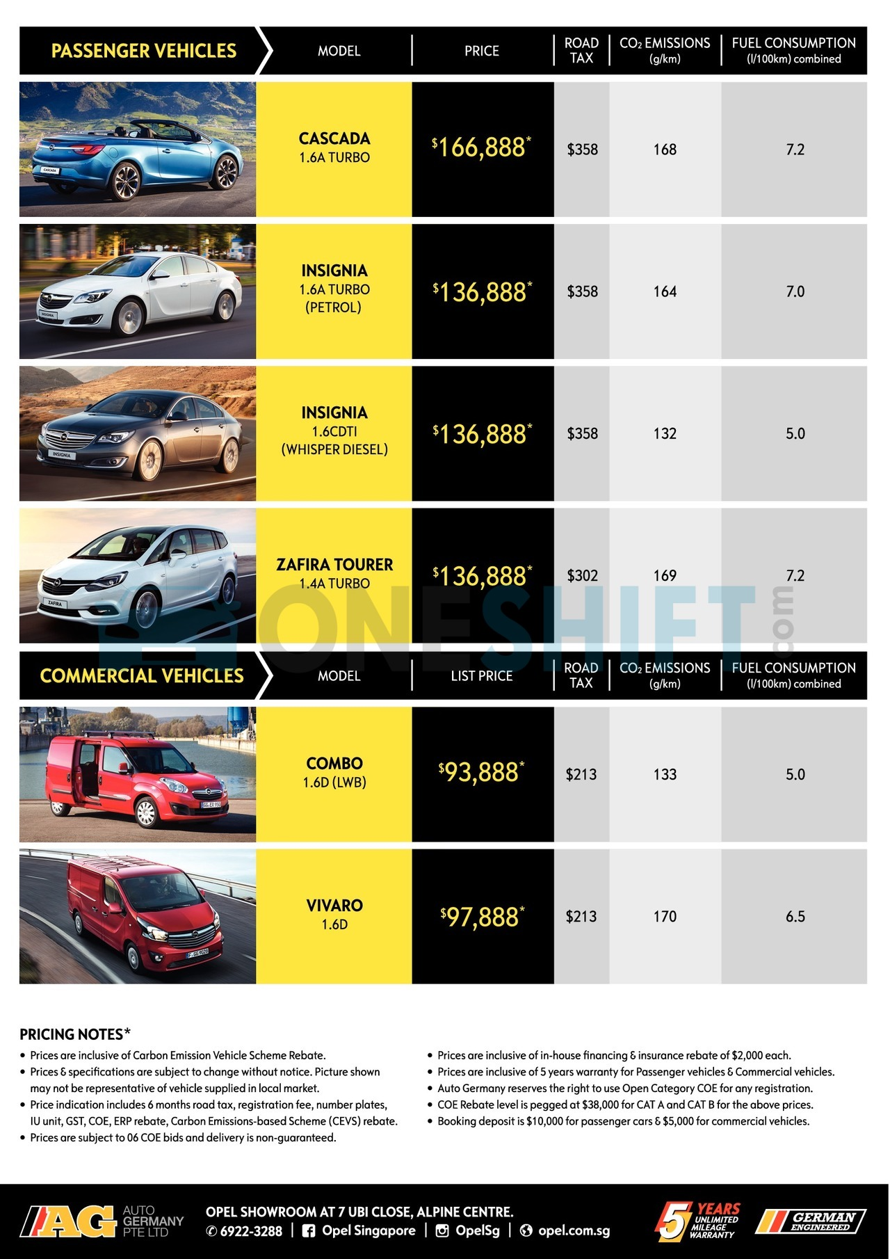 opel Price List 2-9-2017 Page 2