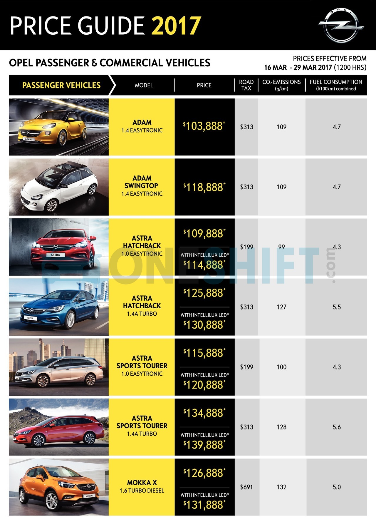 opel Price List 3-16-2017 Page 1