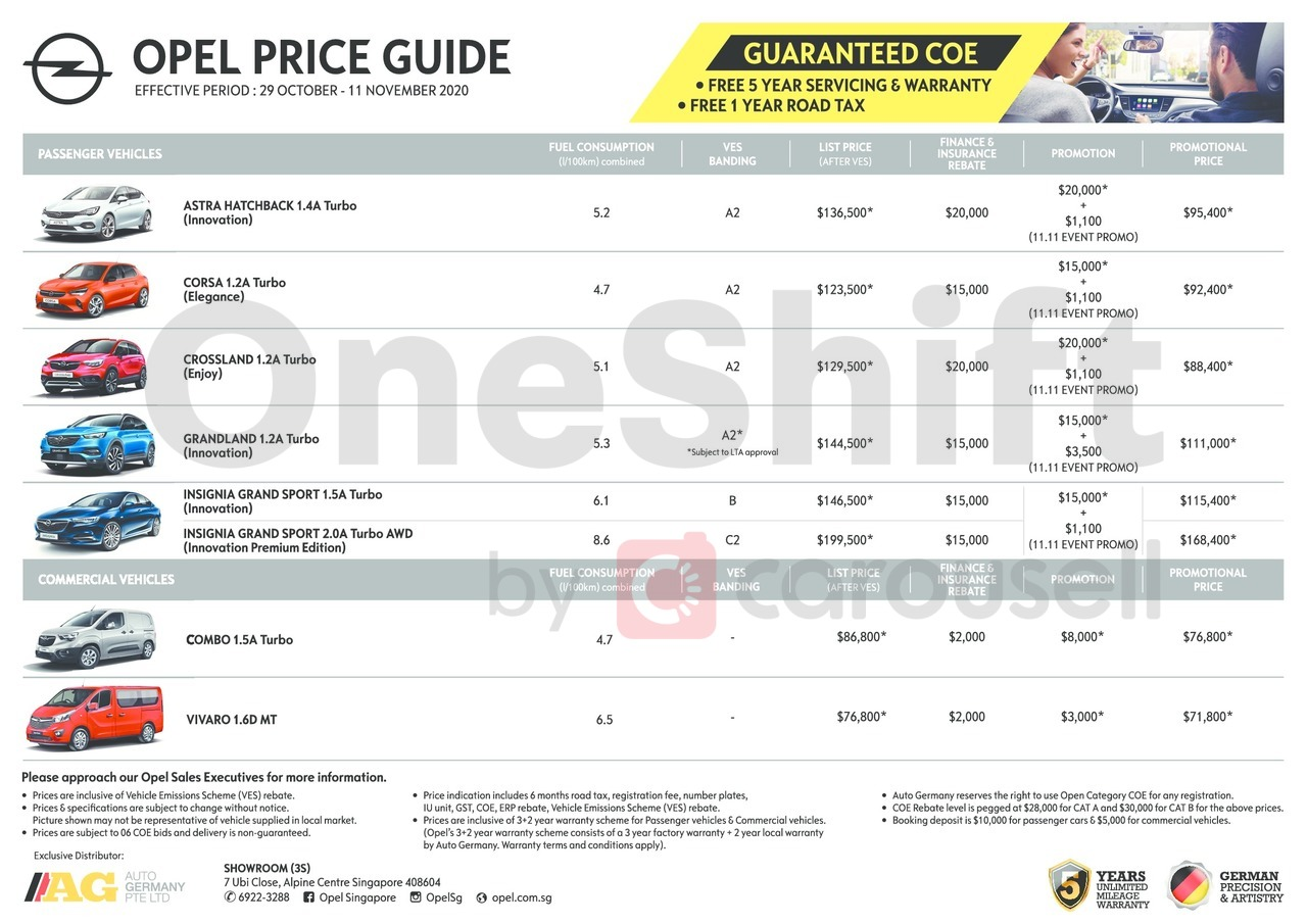 opel Price List 10-29-2020 Page 1