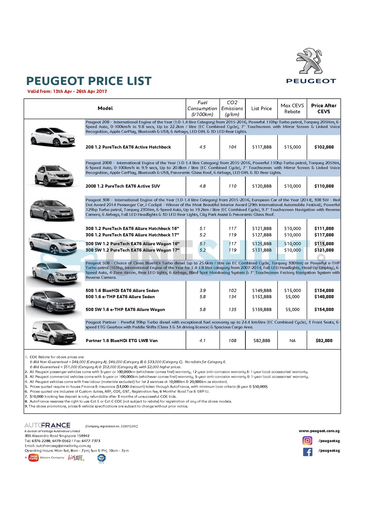 peugeot Price List 4-13-2017 Page 1