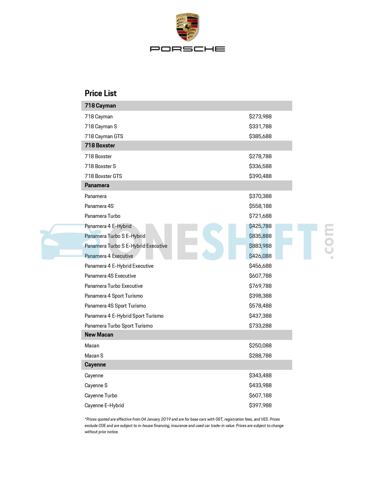 Porsche Singapore Printed Car Price List Oneshift Com
