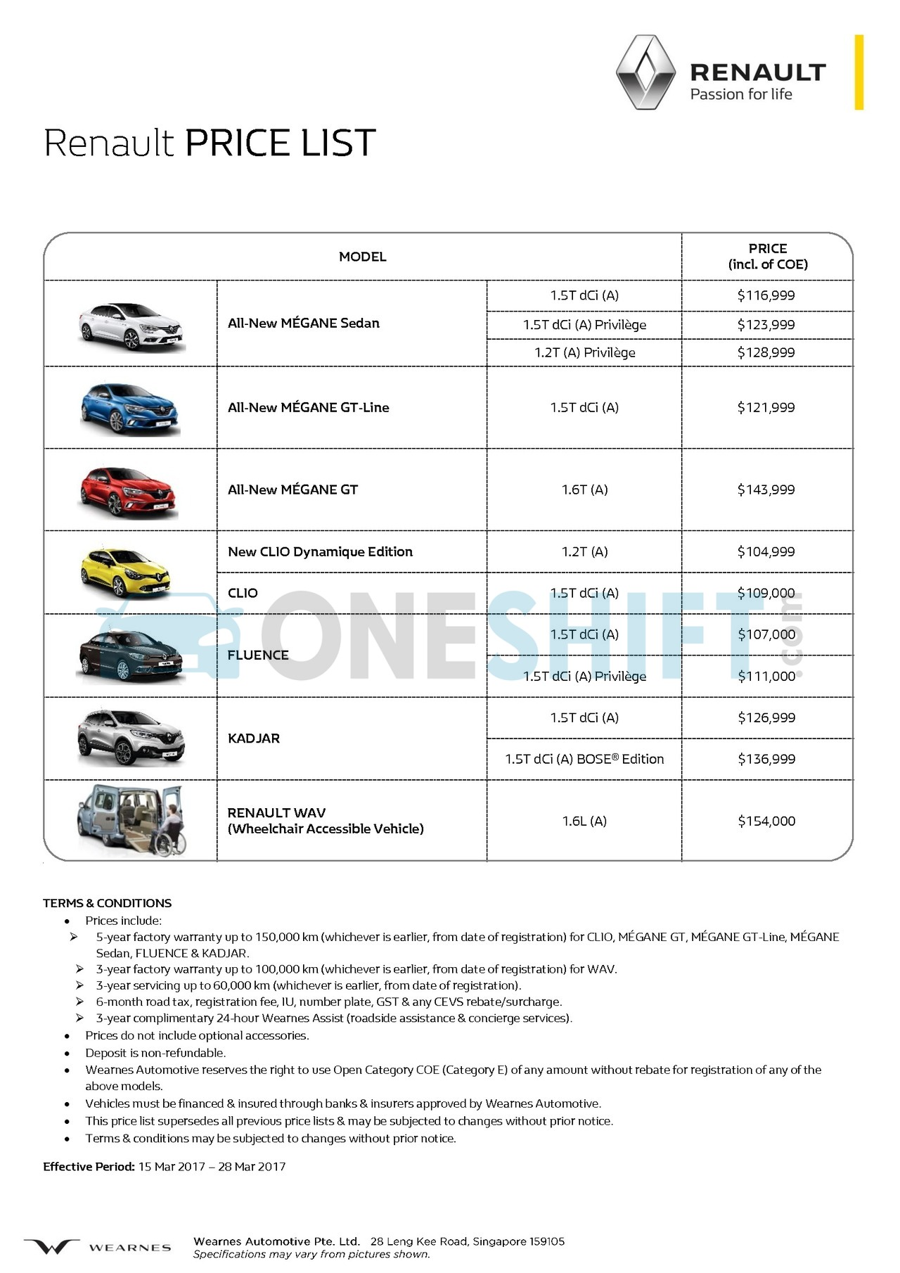 renault Price List 3-16-2017 Page 1