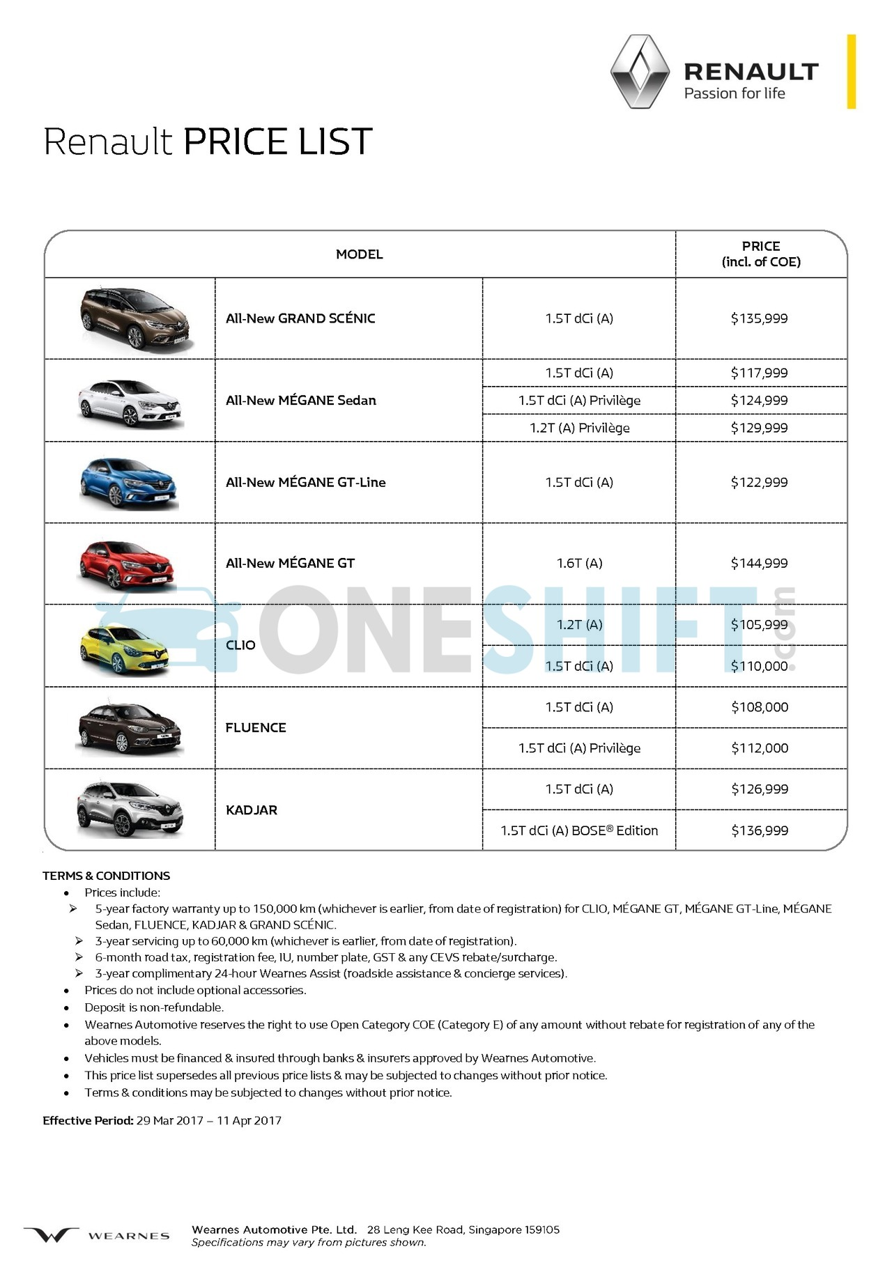 renault Price List 4-30-2017 Page 1