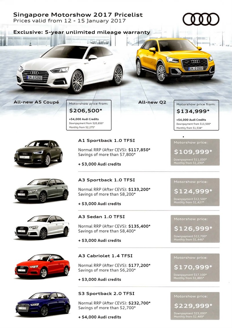 Singapore Motorshow 2017 Audi Price List Deals Promotions And Price List