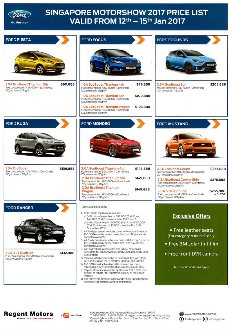 Singapore Motor Show 2017 Ford Price List