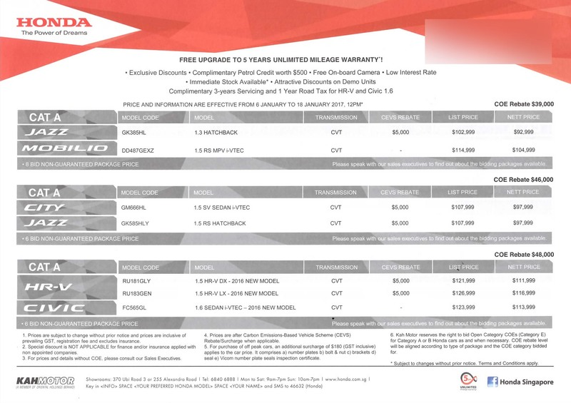 Singapore Motor Show 2017 Honda Price List