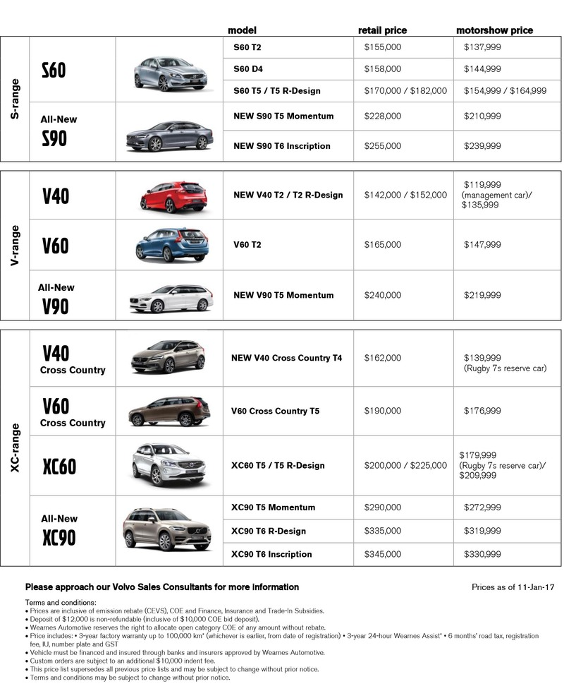 Volvo Price List at Singapore Motorshow 2017
