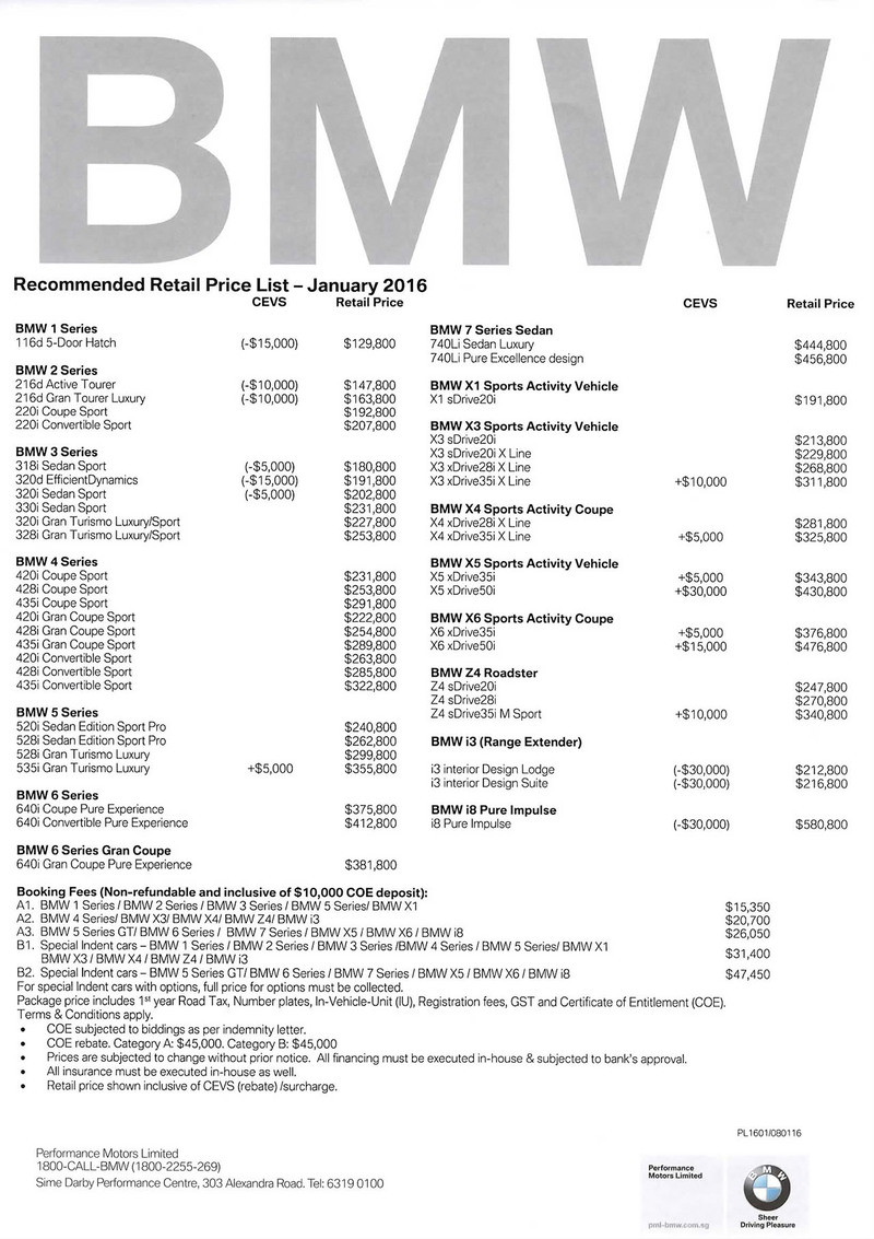 Singapore Motorshow 2016 Bmw Price List Deals Promotions And Price List