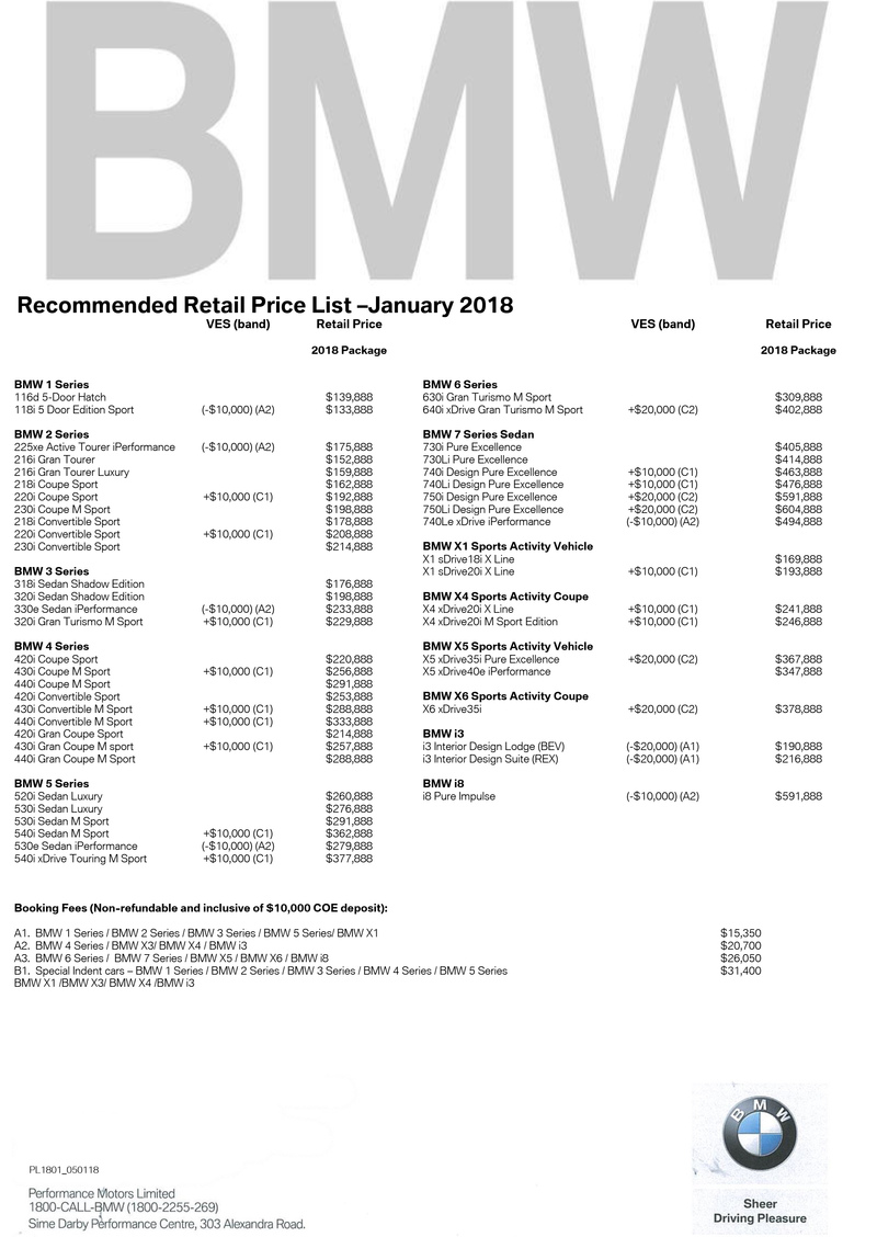 Singapore Motorshow 2018 Bmw Price List Deals Promotions And Price List
