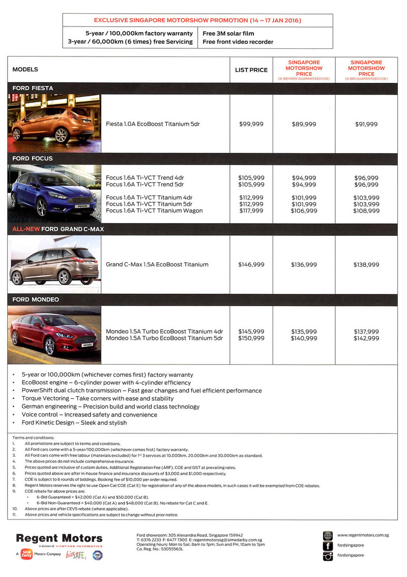Singapore Motor Show 2016 - Deals and Promotions - Ford - Price List  sc 1 st  Oneshift.com & Singapore Motorshow 2016 Ford - Price List Deals Promotions and ... markmcfarlin.com