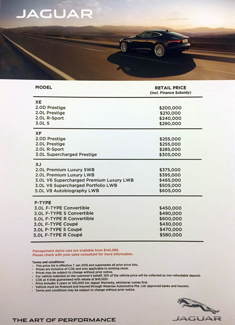 Jaguar price list