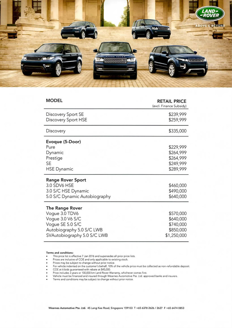 Singapore Motor Show 2016 Land Rover Price List Deals Promotions And Price List