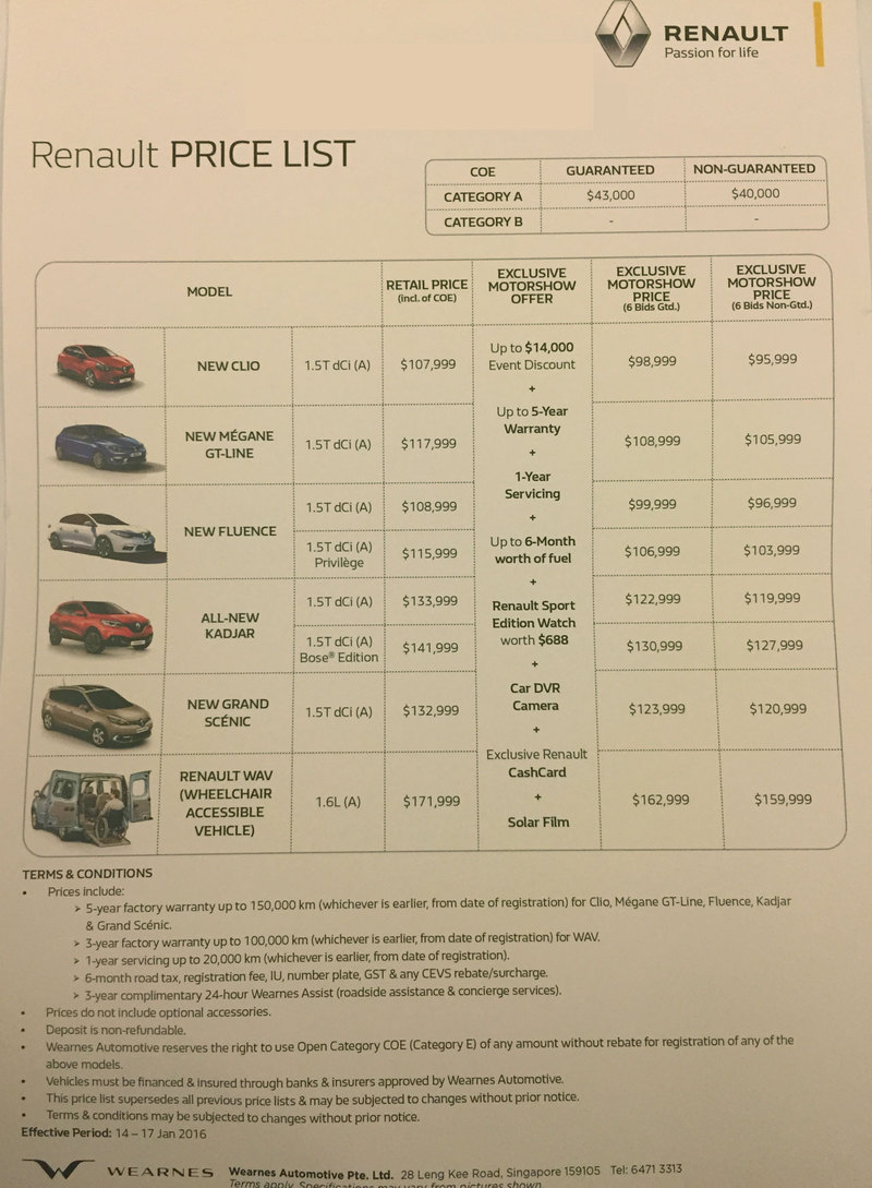 Singapore Motorshow 2016 Renault Price List Deals Promotions And Price List