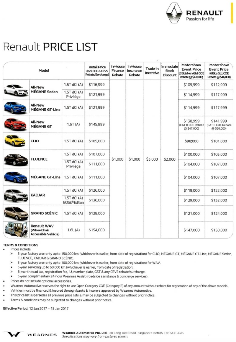 Singapore Motorshow 2017 Renault - Price List Deals, Promotions and ...