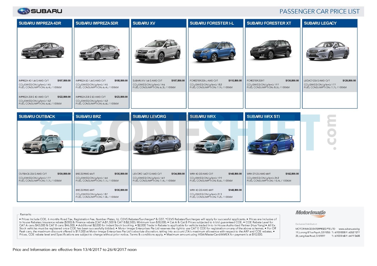 subaru Price List 4-13-2017 Page 1